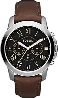 Fossil Mens Quartz Watch, Black Chronograph Display and Leather Strap - FS4813, Brown
