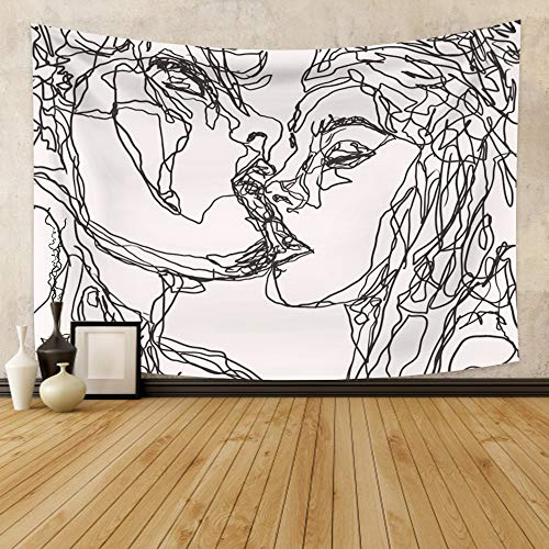 Renaiss Kiss Lovers Tapestry Men Women Kissing Abstract Sketch Artistic Tapestry Black And White Line Art Aesthetic Wall Hanging for Bedroom Dorm Apartment Home Decoration 33.9x27.6 Inches