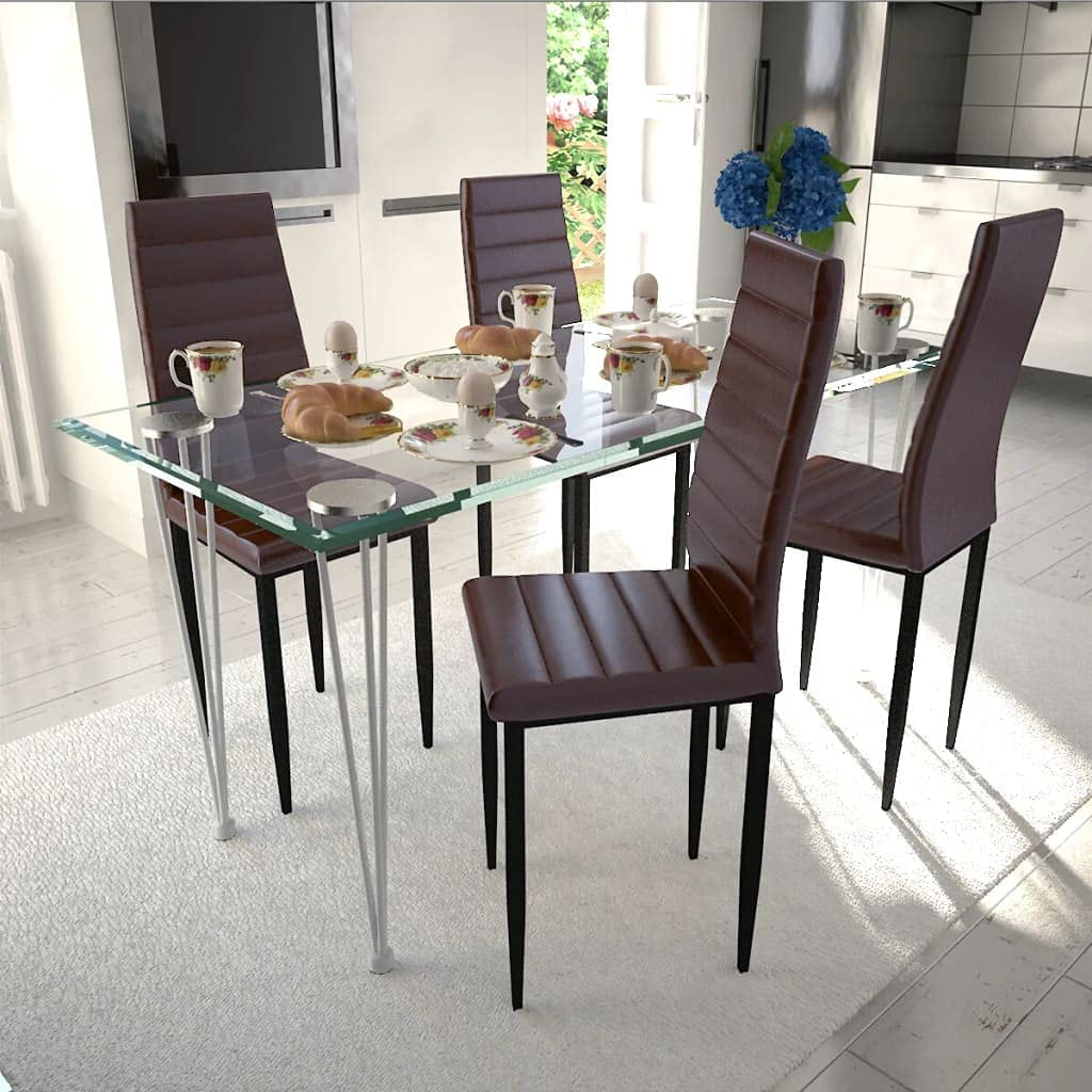 Jinxuny 70% OFF Outlet Dining Chairs Brown Faux Leather 4 Free Shipping Cheap Bargain Gift pcs