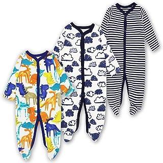 bf02a1b979e5 Baby Footed Pajamas Sleeper 3 Packs Infant Girls Boys Cotton Long Sleeve Jumpsuit  Newborn Sleepwear Romper