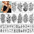 Yazhiji 40 sheets Lasting Temporary Tattoos Large Flowers Collection Waterproof Temporary Fake Tattoo Stickers for Women and Girls.
