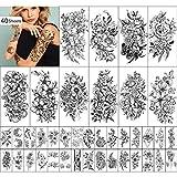 Yazhiji 40 Blatt Dauerhafte Tätowierungen Große Blumen Sammlung Wasserdichte Temporäre gefälschte Tätowierungsaufkleber für Frauen und Mädchen…