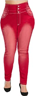 Katenyl Pantalones Vaqueros de Talla Grande para Mujer, Moda de Primavera, Todo fósforo, Cintura Alta, Estilo clásico, dec...