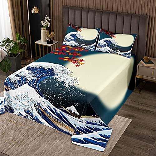 Japanisches Hokusai-Muster Steppdecke 220x240cm Exotischer Bettüberwurf im japanischen Stil Blaues Wellenmuster Tagesdecke für Kinder Frauen Fuji Mountain Gedruckt