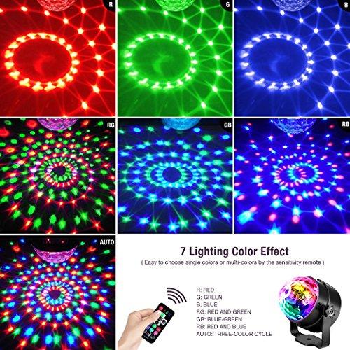 Techole Discokugel LED Party Lampe Musikgesteuert Disco Lichteffekte Discolicht mit 4M USB Kabel, 7 Farbe RGB 360° Drehbares Partylicht mit Fernbedienung für Weihnachten, Kinder, Kinderzimmer, Party - 3