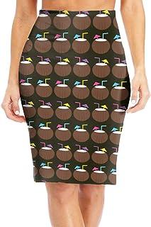 9ae74ba60c Antonia Bellamy Hawaiian Coconut Drink Women s High Waist Stretchy Knee  Length Bodycon Midi Pencil Skirt