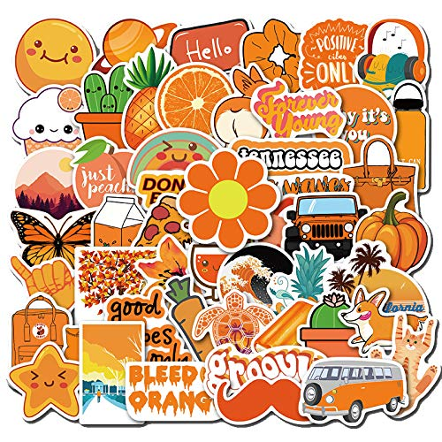 50 pegatinas de graffiti, color naranja, pequeñas, personalizables, para coche, caso, agua, taza, monopatín, pegatinas impermeables