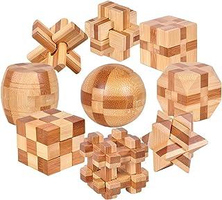 KBstore Difícil Intermedia 9 Piezas Rompecabezas de Madera Juguetes Caja Set - Educa Brain Teaser Puzzle de Madera - Juegos de Logica para Adultos - Juego de Ingenio Niños y Infantiles