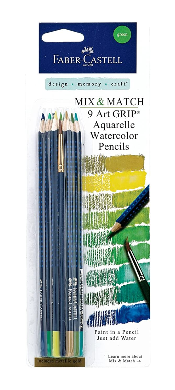 Faber-Castell Art GRIP Aquarelle Watercolor Pencils Set With Brush, Set of 9 - Greens