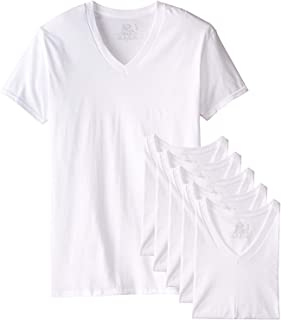 Fruit of The Loom Men's Tucked V-Neck T-Shirt (XXX-Large Tall, White)