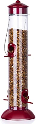 BOLITE 18021 Bird Feeder Classic Tube Feeder Outdoor Hanging Wild Bird Feeders, Wine Red, 1.5lb