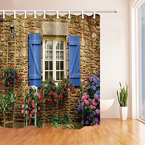 ottbrn 3D Digital Printing Home Garden Shower Curtain Stone Wall and Window and Flowers Polyester Fabric Bathroom Decorations Bath Curtains Hooks Included 72X72 inches