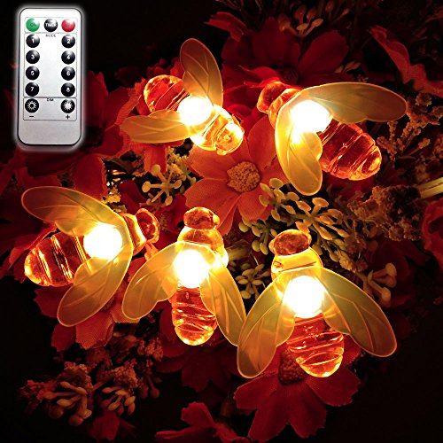 Dreamworth Remote Bee String Lights, 19.5Ft 40 Led Bee Shape Fairy String Lights Battery Operated String Lights for Garden, Patio, Lawn Decoration with Remote Control(Warm White)