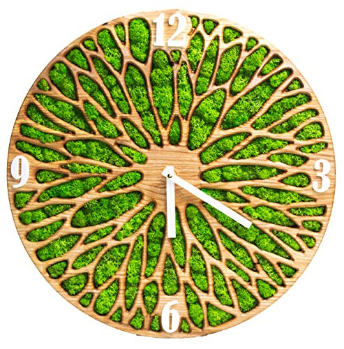 YESBYHAND Reloj de pared de madera musgo hecho a mano, 15.75 pulgadas, decoración única de musgo natural verde musgo. Hecho en Ucrania. Personalizable
