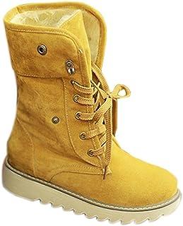 6578d006 Minetom Mujer Invierno Botines Botas De Nieve Botas De Piel Calentar Casual  Plano Zapatos