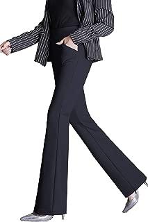 Womens Yoga Dress Pants Bootcut with Pockets High Waist Tummy Contorl Slim Stretch Bootleg Work Slacks