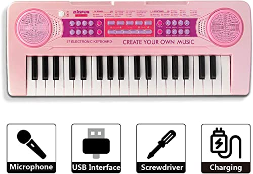 TUMTUM 37 Keys Charging Multi Functional Electronic Kids Piano Music Educational Piano Keyboard Toys Musical Instrument with Microphone Size 16 9 6 3 2 1 inch Color Pink