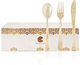 KESYOO 30pcs Disposable Cutlery Kit Plastic Utensils Set Gold Powder Cutlery Kit Party Dinnerware Supplies