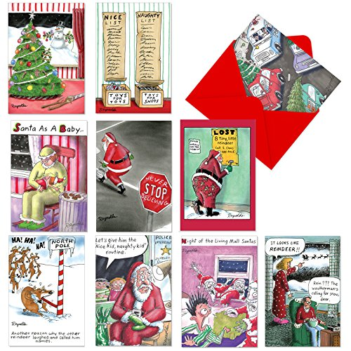 A1257 REYNOLDS UNWRAPPED: Assorted Box Of 10 Hilarious Christmas Cards, W/12 Envelopes (10 Designs, 1 Card Per Design)