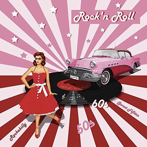 Artland Qualitätsbilder I Wandtattoo Wandsticker Wandaufkleber 70 x 70 cm Fahrzeuge Auto Mixed Media Pink Rosa C7MD Rock'n Roll die 50er Jahre