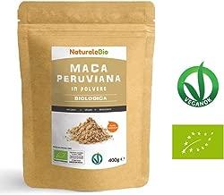 Maca Peruviana Biologica in Polvere [ Gelatinizzata ] 400g   100% Naturale e Pura, Prodotto in Perù, Estratto dalla Radice di Maca Bio   NATURALEBIO
