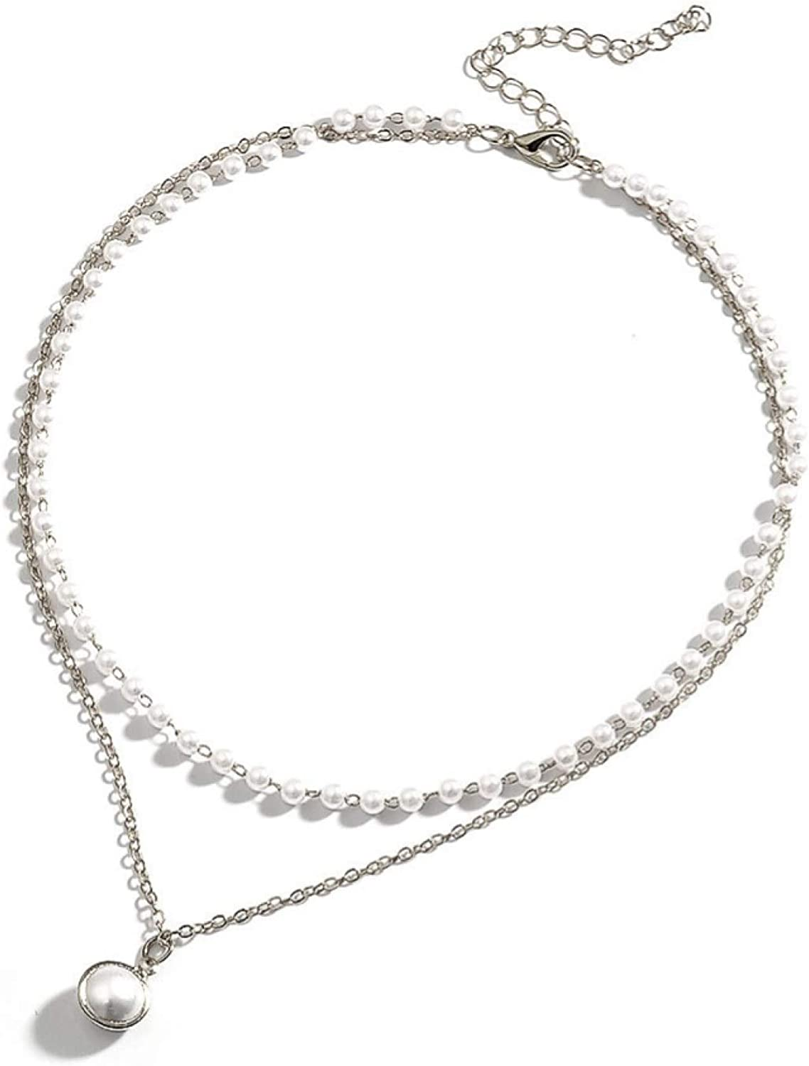 Max 61% OFF Bargain sale Simple Style Double-Layer Faux Pearl Clavicle Necklace Pendant C