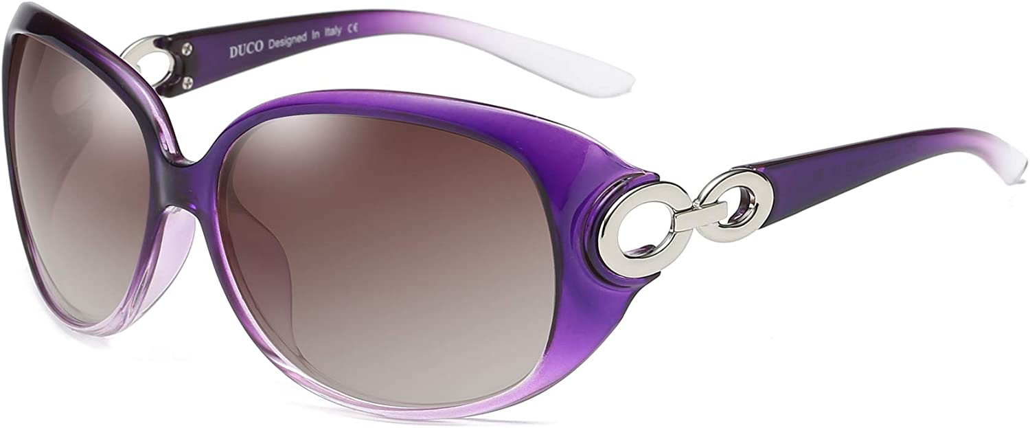 DUCO Shades Classic Oversized Polarized Sunglasses for Women 100% UV Predection 1220 Purple