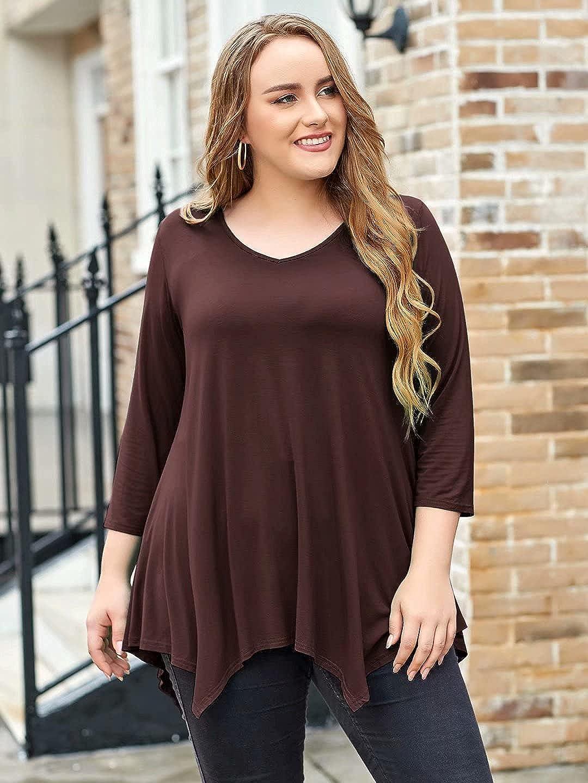 LARACE Plus Size Tunic Tops for Women Asymmetrical 3/4 Sleeve Shirts V Neck Flowy Blouse for Leggings