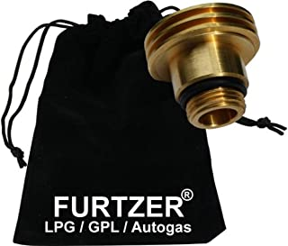 Furtzer LPG GPL Autogas Tankadapter M22 (1 3/4 X W21.8) Acme kurz Adapter mit Stoffbeutel by