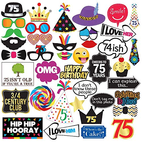 75th Birthday Photo Booth Party Props - 40 Pieces - Funny 75th Birthday Party Supplies, Decorations and Favors