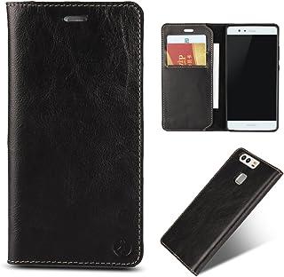 (iCoverCase) Huawei P9 ケース 本革 手帳型 紙幣収納ポケットカードスロット3枚付 耐久性良い スマホ保護レザーカバー 黒とブラウン2色 (黒)