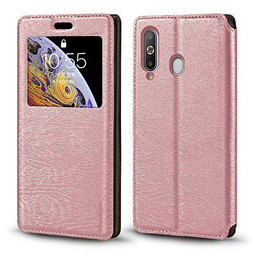 Schutzhülle für Samsung Galaxy A8S, Holzmaserung, Leder, mit Kartenhalter & Fenster, Magnetverschluss, für Samsung Galaxy A8S (Roségold)