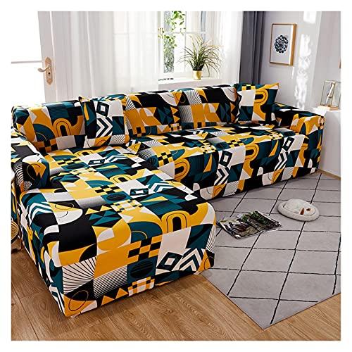 QYSM Adecuado para sala de estar, esquina de mascotas, funda de sofá elástica geométrica en forma de L, funda de sofá chaise longue de 1/2/3/4 asiento Jacquard (color: 5, tamaño: 3 plazas, 190-230 cm)