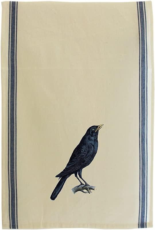 Crow Vintage Look Cotton Retro Stripe Dish Kitchen Towel Blue Stripe