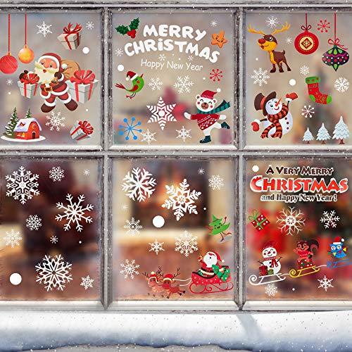 AFASOES 6 Rollos Pegatinas Navidad para Ventanas Pegatinas de Navidad Pegatinas Electrostáticas Decoración de Navidad Pegatina Copo de Nieve Papá Noel Muñeco de Nieve Alce para Ventanas Cristales