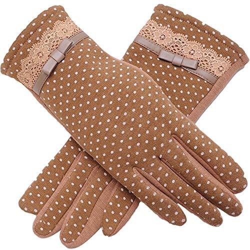 Small-shop-gloves Gants d'hiver Chauds pour Femme avec écran Tactile en Cachemire et Dentelle en Coton 13 A, Femme, Kaki, oneszie