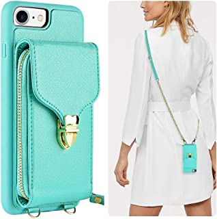 JLFCH iPhone 8 Wallet Case, iPhone 7 Crossbody Case, iPhone SE Wallet case with Card Slot Holder Zipper Wrist Strap Crossbody Chain Purse for Apple iPhone 7/8 / SE, 4.7 inch - Mint Blue