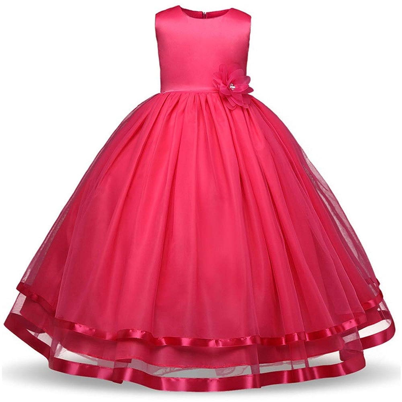 ガールズドレス 女の子のドレス子供の誕生日パーティードレスノースリーブフラワーリボントリムファンシーメッシュチュールチュチュドレスホリデープリンセスドレスページェント夜会服の女の子フォーマルウエディングウェディングドレス キッズフォーマルドレス (色 : ローズレッド, サイズ : 160)