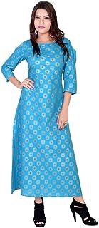 Indian Handicrfats Export Turquoise Printed 3/4 Sleeve Cotton Kurti
