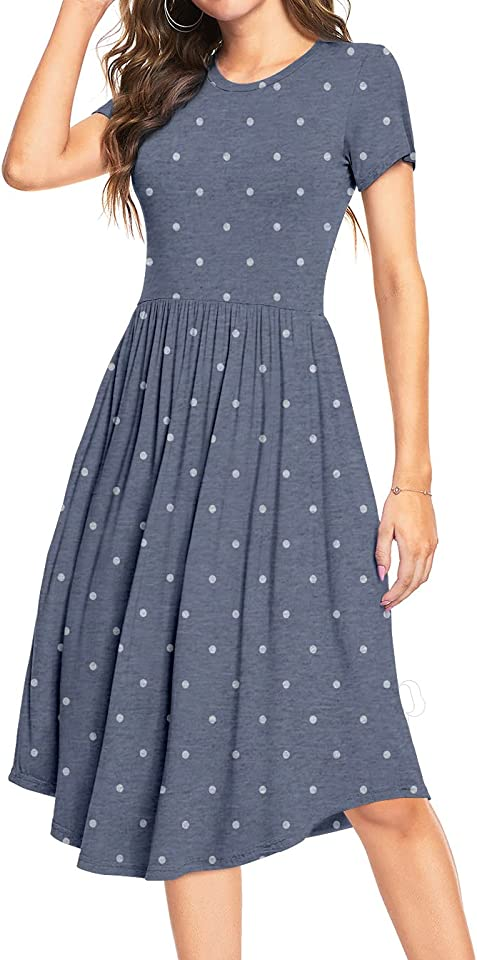 Women Polka Dot Casual Tunic Dress Pleated Loose Flowy Midi Dress with Pocket