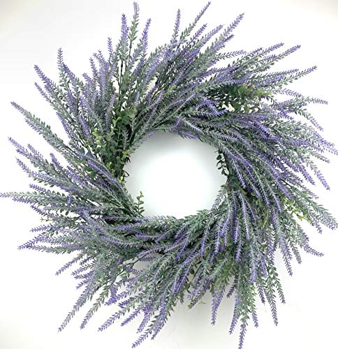 Huashen Spring Lavender Front Door Wreath, 24inch Grapevine Farmhouse Large Wreath with Green Leaves for Wall Window Wedding Hanging Summer Purple