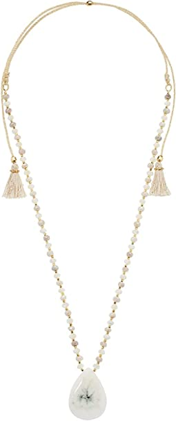 Chan Luu - 18k Gold Plated Sterling Silver Adjustable Necklace w/ Tassels & Drop Semi Precious Stone