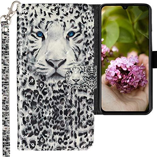 CLM-Tech Hülle kompatibel mit Xiaomi Mi 9 SE - Tasche aus Kunstleder - Klapphülle mit Ständer & Kartenfächern, Leopard schwarz weiß