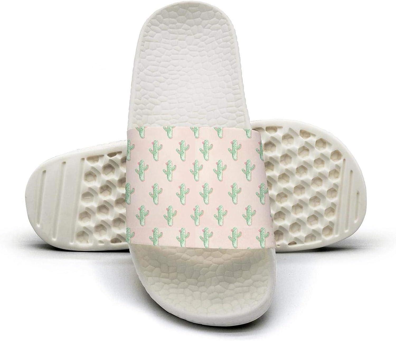 Beautiful Women Cute Cactus and Flowers Slip on Beach Sandals and Anti-Slip Shower Slipper Comfort Sandals