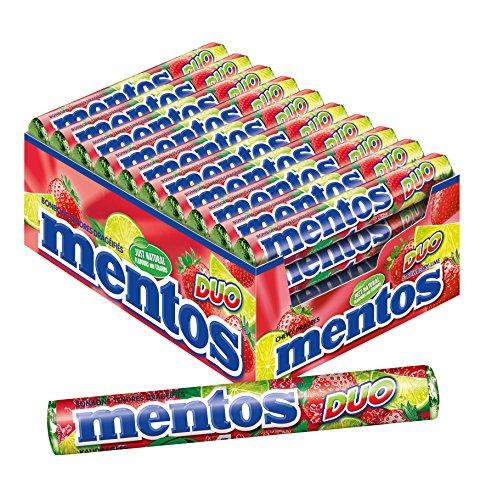 Mentos Dragees Erdbeere-Limette Duo, 40 Rollen Bonbons, fruchtig-spritziger Geschmack, Multipack Kaubonbons