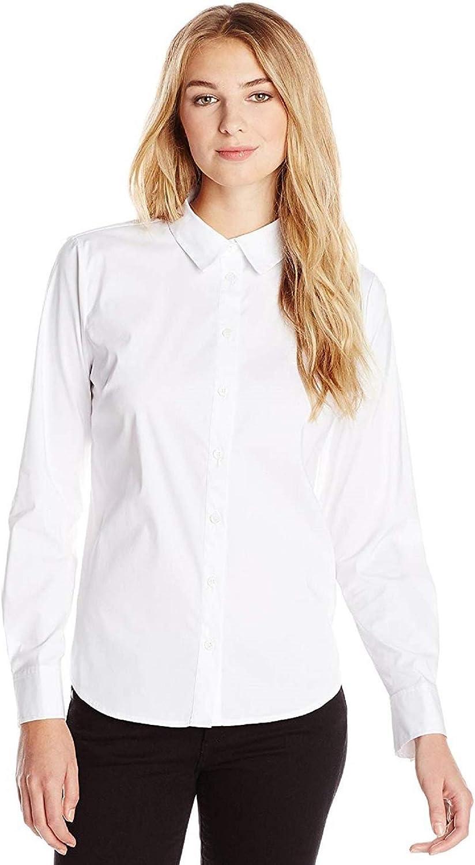 Vince Camuto Women's Long Sleeve Cotton Blend Blouse White XL