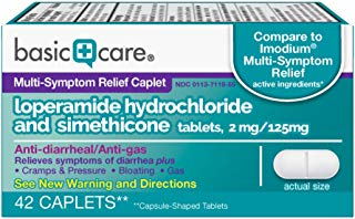Basic Care Loperamide Hydrochloride and Simethicone Tablets, 2 mg/125mg, 42 Count
