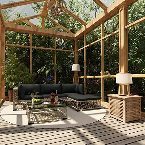 UnfadeMemory Garten-Lounge-Set Gartenmöbel Loungesofa Gartencouch mit Sitzpolster Poly Rattan Gartensofa Gartengarnitur für Terrasse oder Garten Grau (Typ D-5tlg. Set)