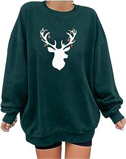 Fenebort Store-AU Christmas Elk Printing Womens Crewneck Oversized Sweatshirts Long Sleeve Tunicss Tunic Tops