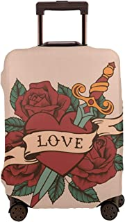 Luggage Cover Protective Washable Suitcase Protector Cover Travel Elastic Spandex Baggage Protector Love Rose Arrow Heart Fit 18 To 32 Inch